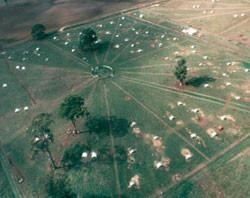 Aerial view of circular system of free range paddocks