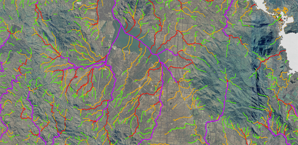 Example of waterway determinations taken from the spatial data layer Queensland waterways for waterway barrier works
