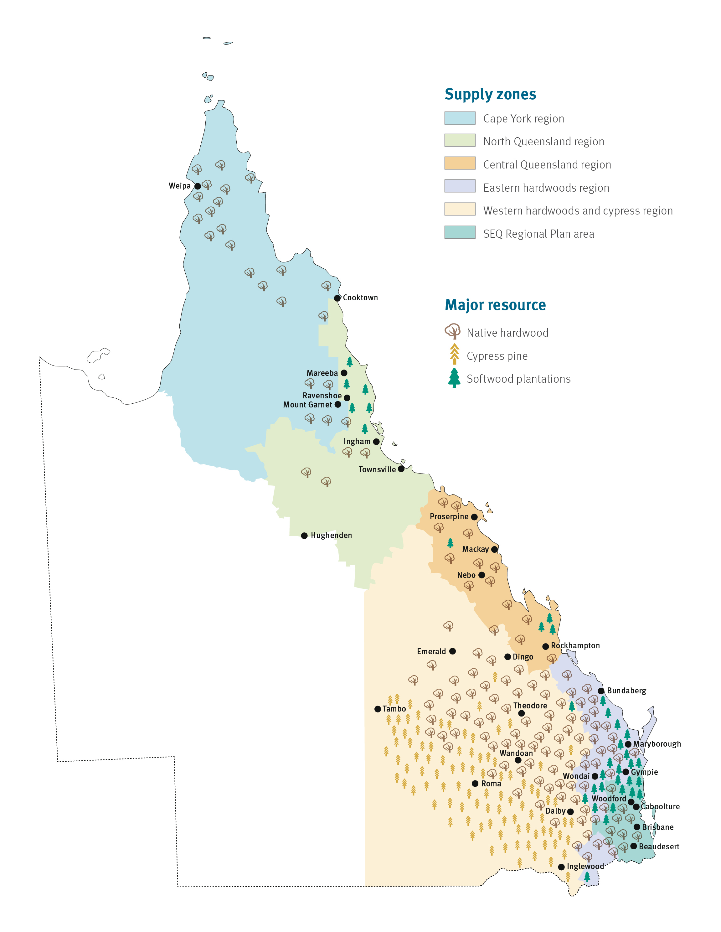 Native forestry in Queensland—Main resource map