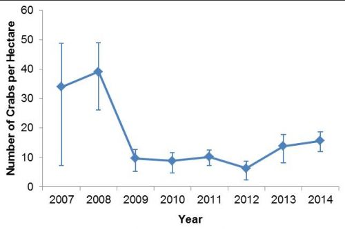 Annual predicted abundance of juvenile (0+) blue swimmer crabs per hectare caught during scientific trawl surveys (2007 to 2014). Copyright: DAF