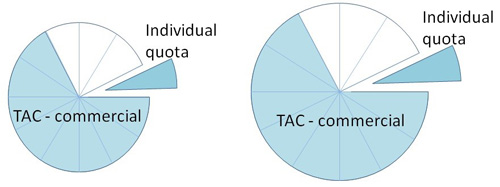 Pie charts showing if the TACC increases or decreases, the quota percentage stays the same but the value (weight of fish) of the quota increases or decreases