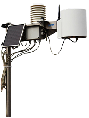 Device with several parts and wires on a stand